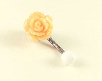Tiny Flower Belly Button Ring, Small Belly Rings, coral Flower Belly Ring, Flower Belly button Ring, Floral Belly Button Ring
