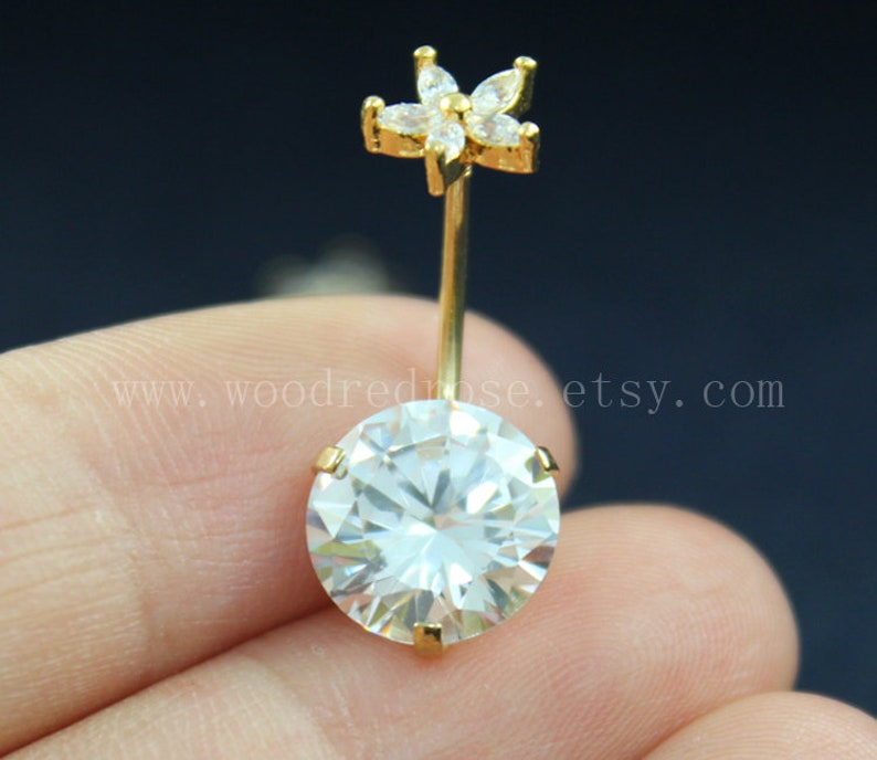 Blingbling Belly Button Rings Diamond Belly Ring Flower Belly Ring Diamond Navel Piercing Ring Stud Piercing