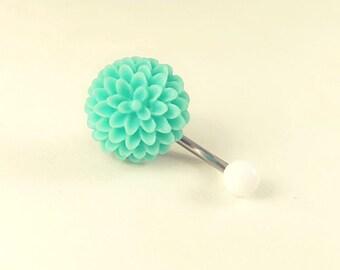 Blue Hydrangea belly rings, cute flower belly rings, Flower Belly Button Ring, Mint Flower Belly Ring, No Dangle Belly Ring