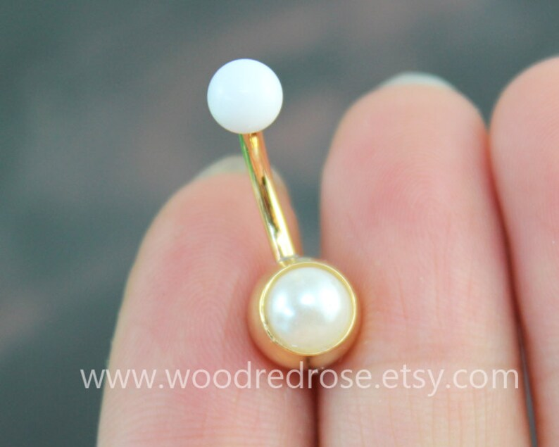 Pearl Belly Button Ring White Pearl Navel Piercing Gold Belly Ring Belly Button Piercing