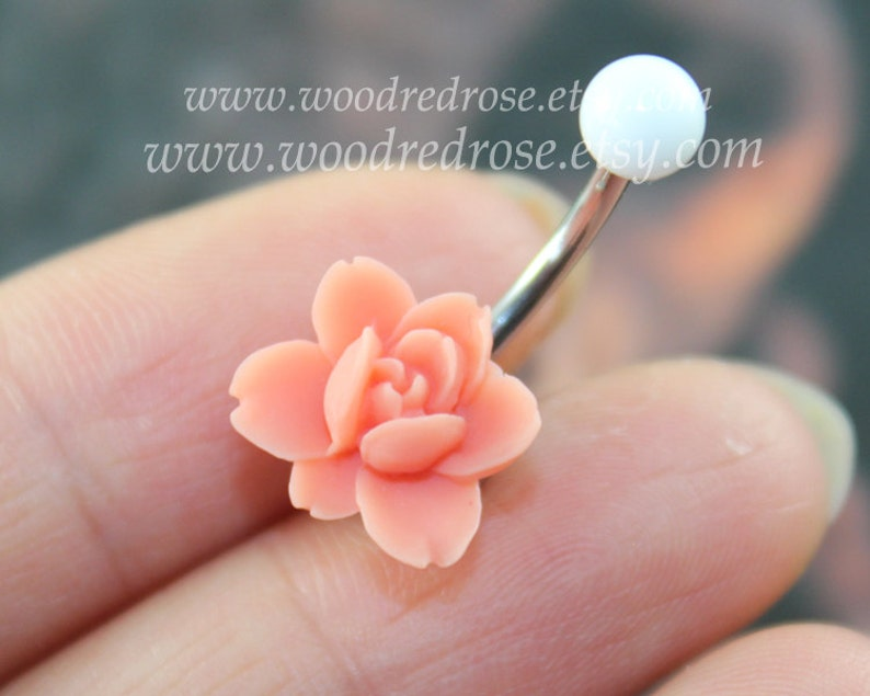 Pink Flower Belly Button Ring Coral Flower Belly Ring Flower Bellybutton Ring Dangle Belly Ring Rose Belly Button Ring Belly Button Piercing