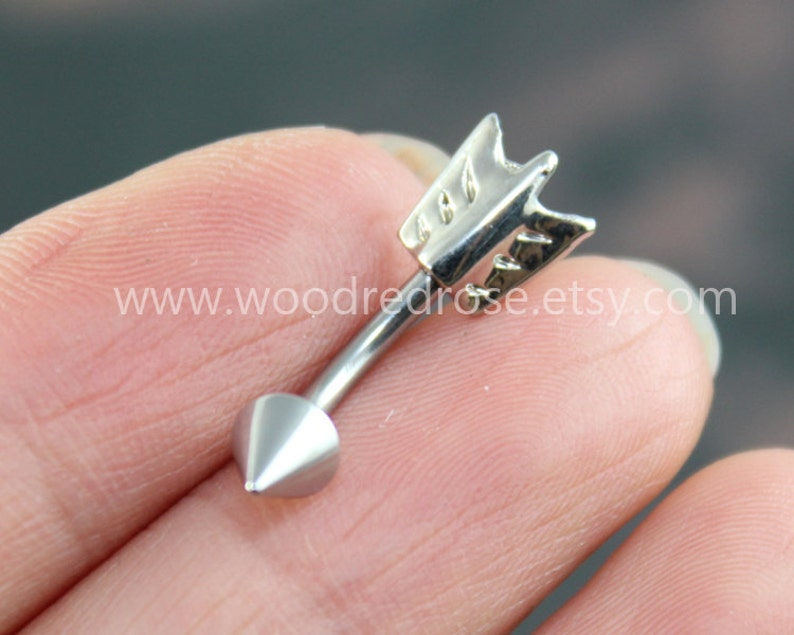 Silver Arrow Belly Button Jewelry RingTribal Arrow image 0