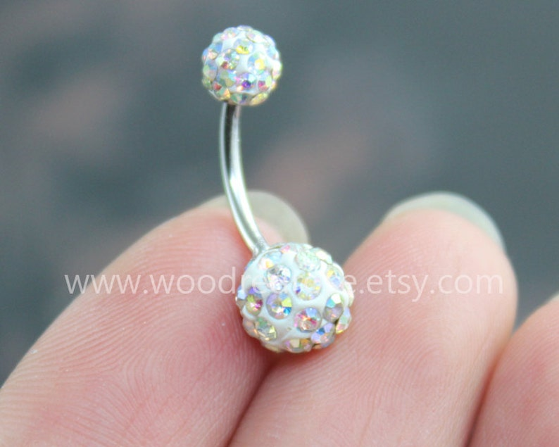 Blinking Belly Button Rings Ab Color Diamond Belly Ring No Dangle Belly Ring Diamond Navel Piercing Ring Stud Piercing