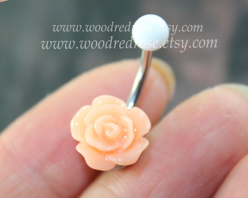 Tiny Flower Belly Button Ring Coral Flower Belly Ring Flower Bellybutton Ring Dangle Belly Ring Belly Button Ring Belly Button Piercing