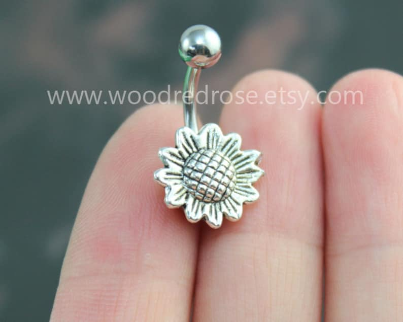 Sunflower Belly Button Rings Cute Sunflower Navel Ring Friendship Belly Rings No Dangle Belly Ring Flower Belly Button Piercing