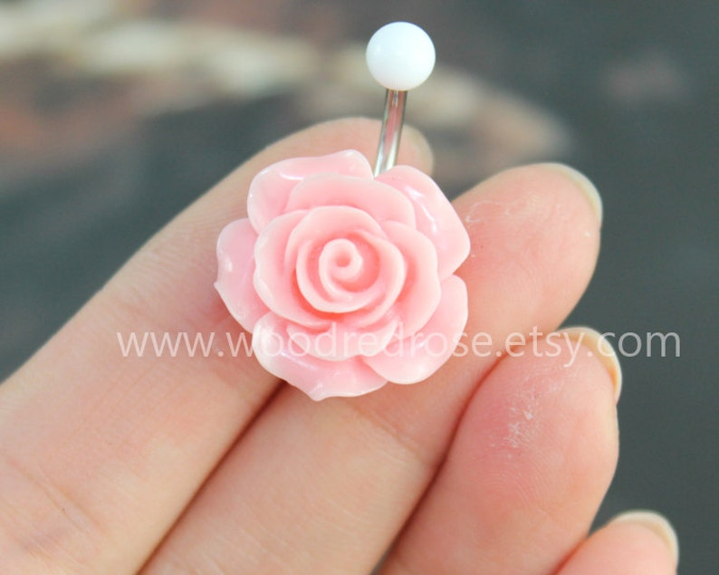 Flower Belly Button Ring Pink Flower Belly Ring Flower Bellybutton Ring No Dangle Belly Ring Belly Button Ring Belly Button Piercing
