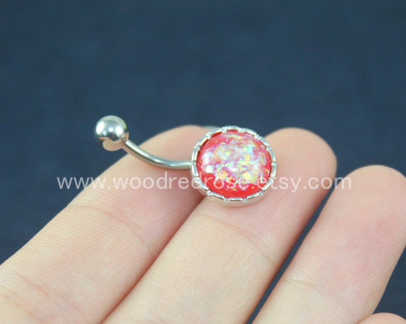 14G Iridescent Opal Belly Bar Sparkling belly ring Blue Belly Bars Silver Belly Button Rings