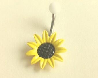Sunflower belly ring, cute flower belly ring, Sun Flower Belly Button Ring, Flower Belly Ring, No Dangle Belly Ring, Belly Button Piercing