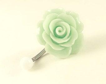 Flower Belly Button Ring, Green Flower Belly Rings, Mint Flower Belly button Ring, No Dangle Belly Ring, Belly Button Ring, Belly Piercing