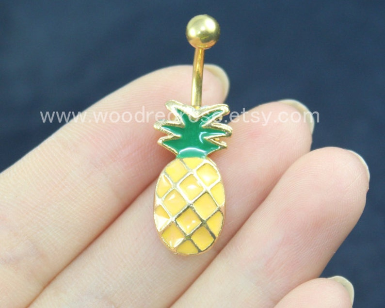 Gold Pineapple belly button ring Women Belly Button Piercing  f1aa42a45f