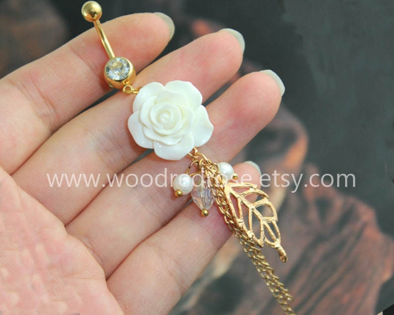 White Flower Belly Button Ring White Flower Belly Ring With Gold Leaf Peal Beads Dangle Belly Ring Floral Belly Button Piercing