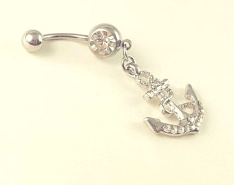 Silver anchor belly ring, anchor Belly Button Ring, Birthstone Navel Piercing, Dangle Belly Ring, Belly Rings, Belly Piercing