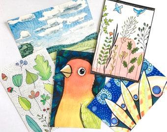 Five postcards of artwork from my sketchbooks!