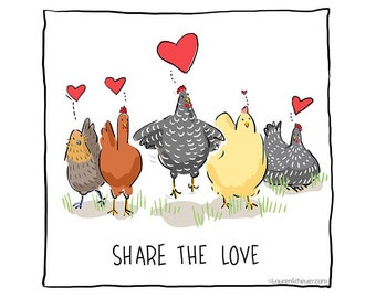 SHARE THE LOVE chicken magnet