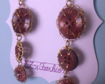 EZ's Funky novelty unique dangle & drop earrings with light wood and plastic buttons and tarnish resistant wire