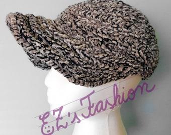 SALE - Novelty Winter & Fall Baseball Cap, Handmade Original Crochet Fuzzy Hat