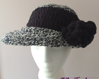 SALE - Novelty Winter & Fall Hat, Handmade Original Crochet Fuzzy Fedora style Gray and Black Hat