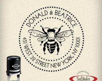"Custom Self-Inking Address Stamp - ""Buzzing Bee"""