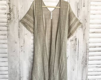 Linen Love Kimono - S L A T E Boho Kimono Beach Cover Up, Long Kimono Robe, Sheer Kimono, Summer Kimono, Bohemian Print Kimono, Boho Fashion