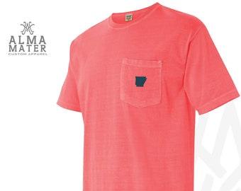 T-Shirt State Embroidered Comfort Color w/ Pocket, Neon Orange