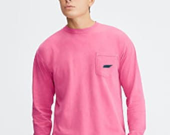 MEDIUM - Comfort Colors Long Sleeve Pocket tee, State Embroidery on Pocket