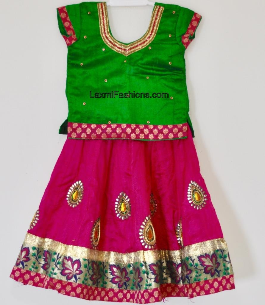 aabf7aba4cbf40 SALE 25% DISCOUNT Kids Pure Pink Raw Silk Moggam Work Lehenga