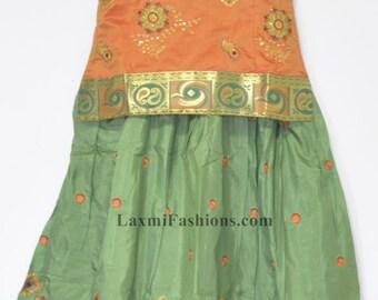 Kids Baby Green Embroidred Silk Pattu Zari Lehenga Yellow Blouse Choli