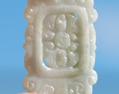 Carved Jadeite Jade Pendant, Plaque, translucent pale green, Chinese style Jade carving, Floral Motif, Carved Pendant 45 x 31mm