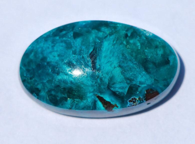 Dioptase, Chrysocolle, Shattukite, Cabochon, Intense, translucide émeraude verte, verte, verte, ovale forme, 22 x 13 mm, Congo 66eb96