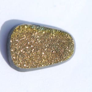 excellent polish fool/'s gold color freeform triangle 33 x 33 mm C2503 OOAK Fossil Pyritized Ammonite with Pyrite Drusy crystals shiny
