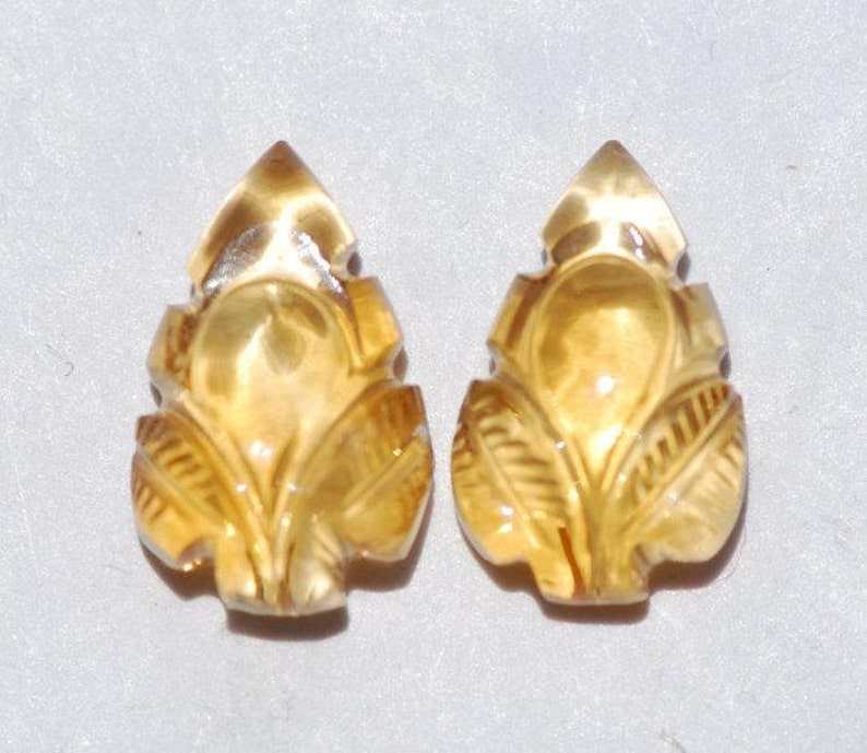 Yellow sizes vary Leaf shape Pair of  Hand Carved Golden Citrine