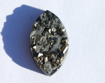 OOAK Pyrite Crystals in Black Slate Cabochon, 25 x 14.5mm oval, C4445