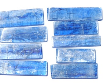 Unique Kyanite cabochons, Rectangular, Translucent Royal Blue, Sizes from 37 - 26mm x 10 - 7mm