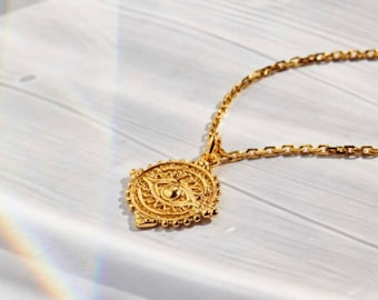 Karma Eye Medallion Necklace Gold Silver