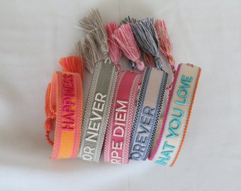 J'adore embroidered friendship bracelet with saying