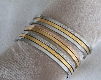 Engraving Statement Bracelet Gold Silver Rose Gold