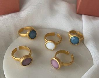 Jade Ring Gold Blue White Lilac 22k