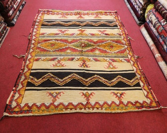 Size:3.5 x 4.8 feet Vintage Moroccan Small Tribal Nomadic Gabbeh Rug