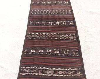 Size:9.5 ft by 2.8 ft Handmade Kilim Runner Tribal Afghan Baluch Kilim Runner,Moroccan Kilim Runner,Oushak Turkish Kilim Runner,Large Runner