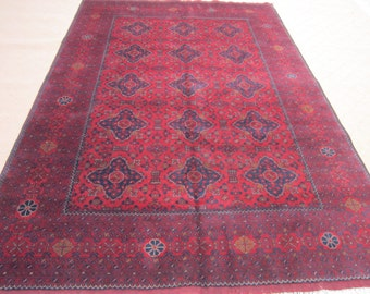 Size:9.9 ft by 6.7 ft Handmade Rug Afghan Turkomen Khal Mohammadi Area Carpet