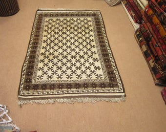 Size:5 ft by 3.5 ft Handmade Rug Vintage Afghan Nomadic Tribal Thick Moroccan Carpet,Off White Soft Wool Thick Carpet,Best Price Rug