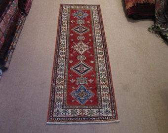Size:2 ft by 5.7 ft Handmade Rug Runner Afghan Vegetable Dye Kazak Caucasian  Carpet Runner