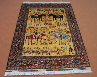 Size:6. ft by 4,3 ft Handmade Rug Afghan Oriental  Area Carpet