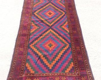 Size:8.9 ft by 3.2 ft Handmade Kilim/Carpet Runner Afghan Tribal Uzbak Kilim/Rug Runner,Moroccan Kilim Carpet Runner,Turkish Oushak Runner