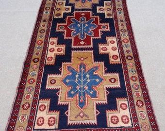 Size:10.5 ft by 4 ft Handmade Rug Runner Vintage Oriental Turkish Carpet Runner,Moroccan Blue Shirazi Carpet Runner,Oushak Rug Runner