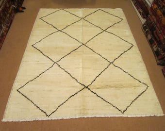 Size:6.7 ft by 5.1 ft Handmade Rug Vintage Moroccan Thick Afghan Area Carpet,Large Moroccan Area Off White Carpet,Best Price rug
