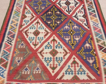 Size:9.6 ft by 5.7 ft Handmade Kilim Vintage Turkish Shirazi Area Kilim,Oushak Kilim,Turkish Wool Rug,Moroccan Tribal Nomadic Kilim