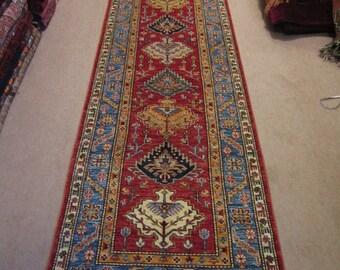 Size:2.8 ft by 10.5 ft Handmade Rug Runner Afghan Large Kazak Caucasian Long Carpet Runner