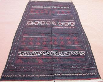 Size:9.7 ft by 5.4 ft Handmade Kilim Vintage Afghan Tribal Baluch Sumak Kilim