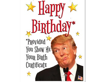 Donald Trump Birthday Card Funny Gift Office Party
